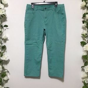 Charter Club Teal Denim Cropped Capri Pants 14